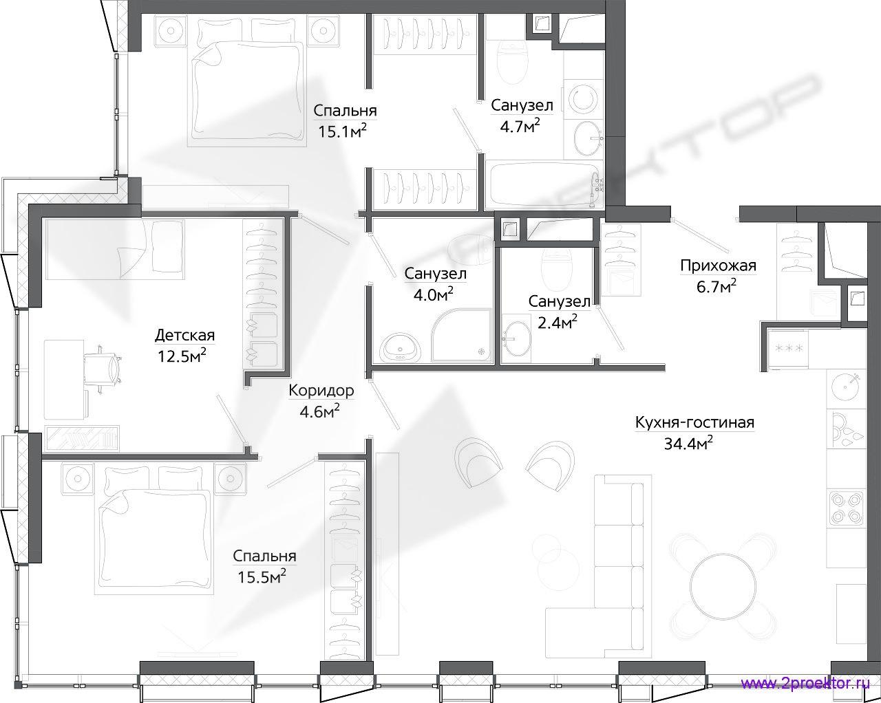 Типовой вариант планировки трехкомнатной квартиры в Жилом комплексе «Discovery Park».