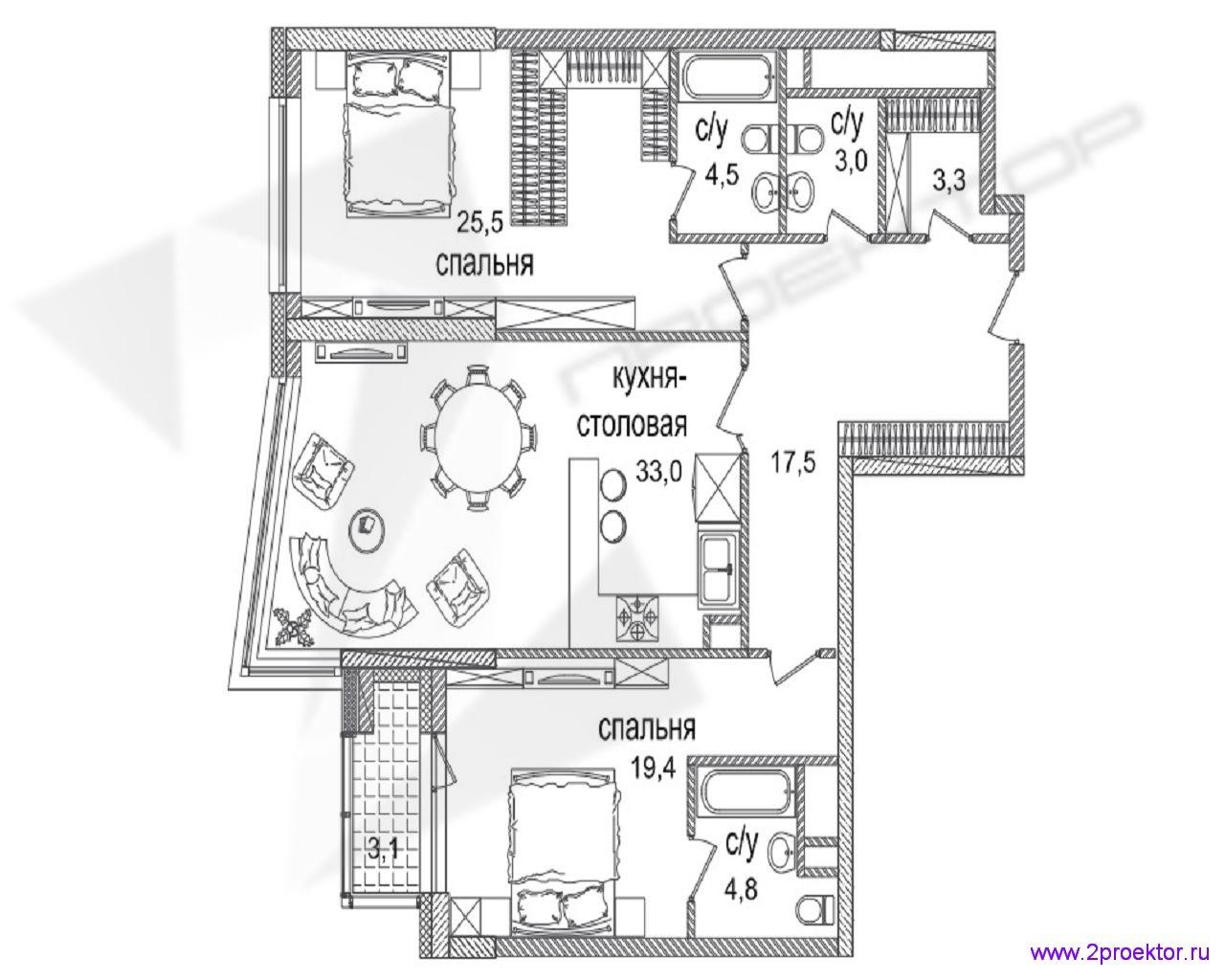 Типовой вариант планировки двухкомнатной квартиры в Жилом комплексе Долина Сетунь.
