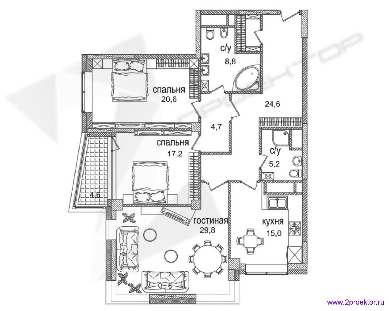 Типовой вариант планировки трехкомнатной квартиры в Жилом комплексе Долина Сетунь.