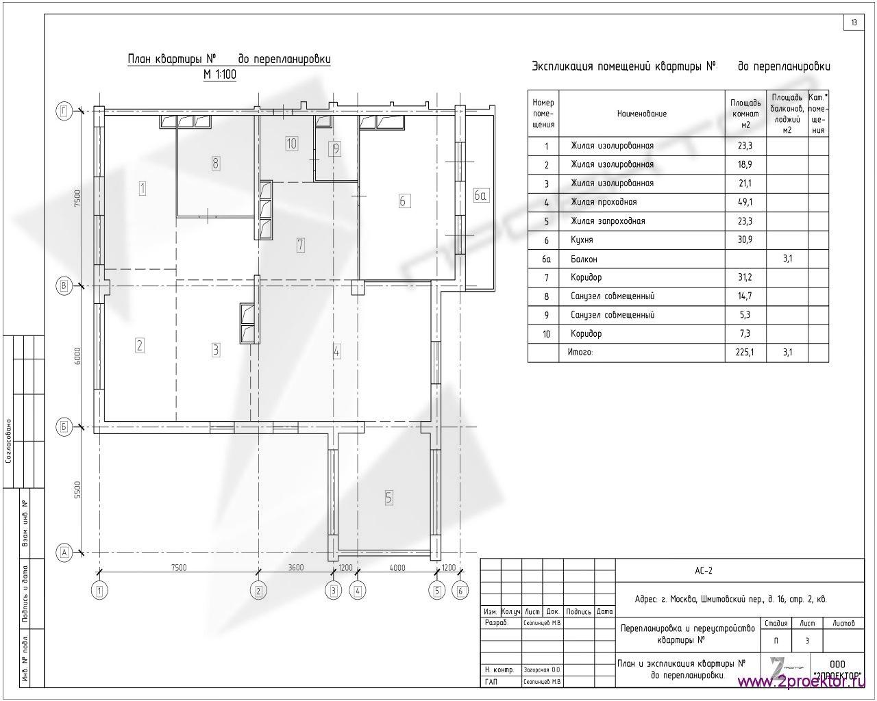 Типовой вариант планировки квартиры в Жилом комплексе Шмитовский.