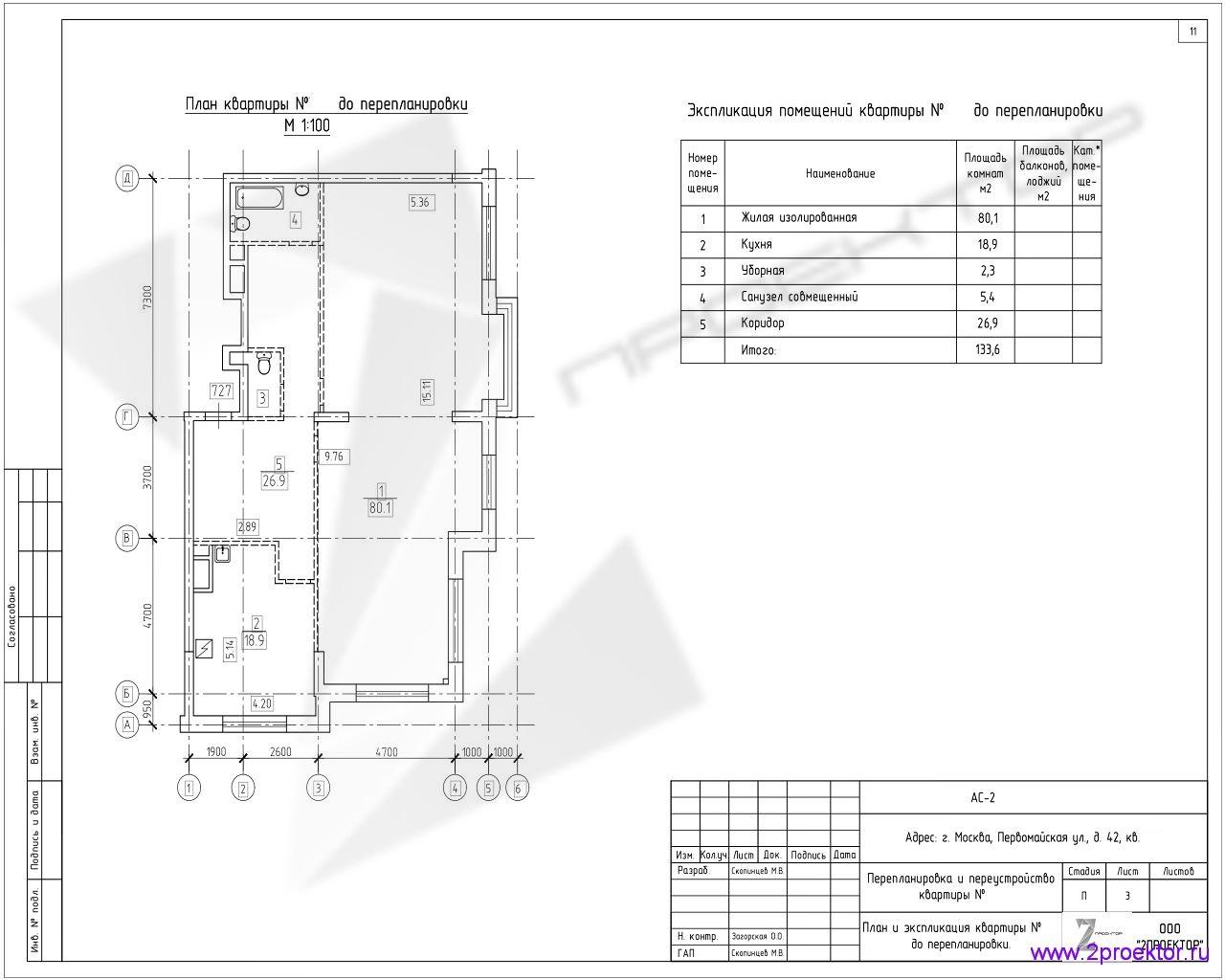 Типовой проект планировки квартиры в Жилом комплексе Измайловский лес