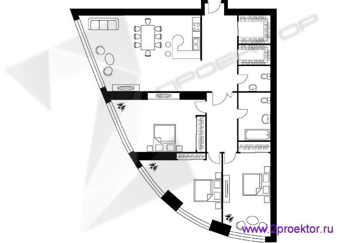 Типовой вариант планировки трехкомнатной квартиры расположенной в ЖК «Триколор».