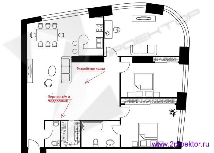 Вариант планировки трехкомнатной квартиры в ЖК «Триколор» разработанный специалистами ООО «2Проектор» (устройство холла, перенос с/у и гардероба).