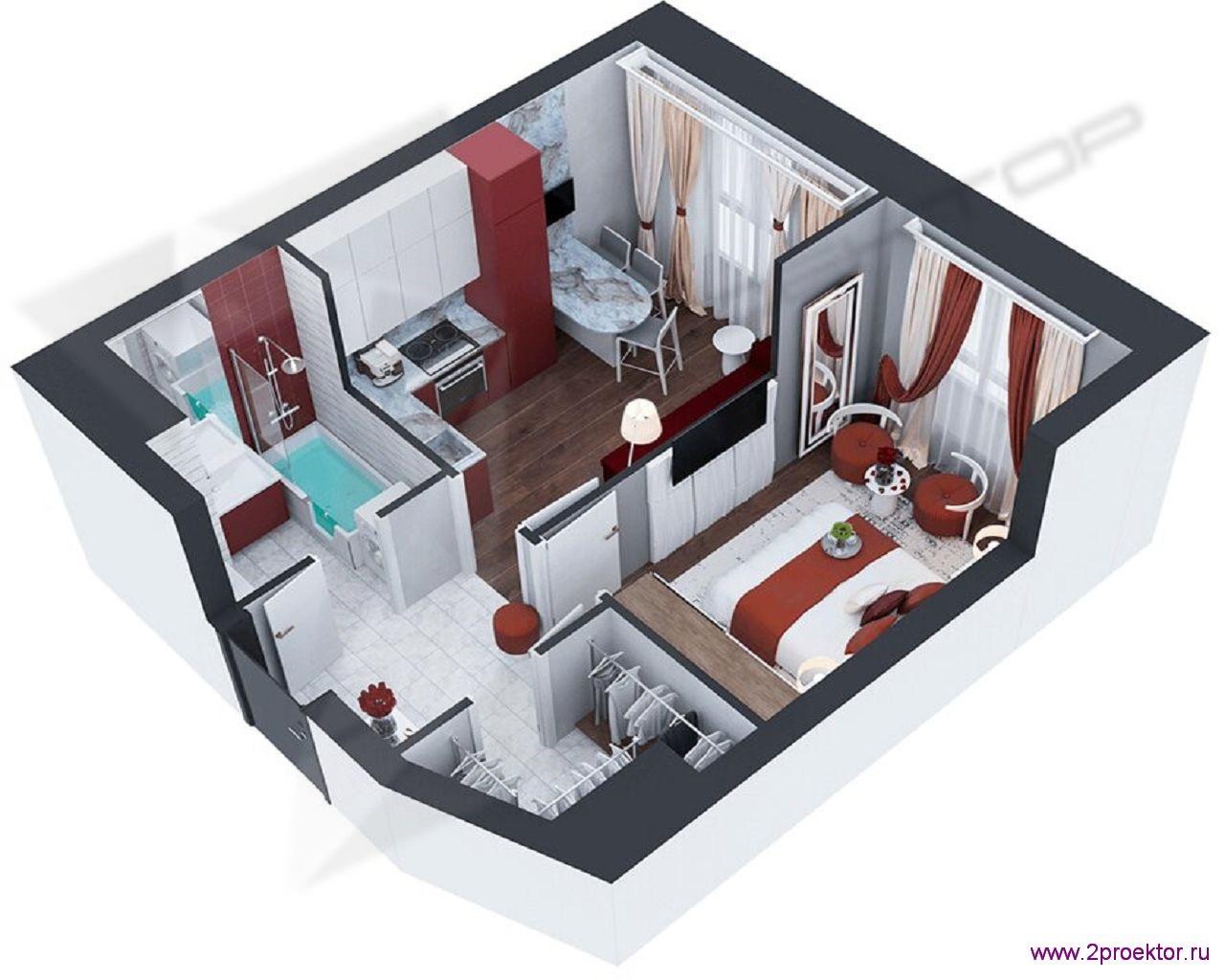 Типовой вариант планировки в современном стиле однокомнатной квартиры в Жилом комплексе Невский.