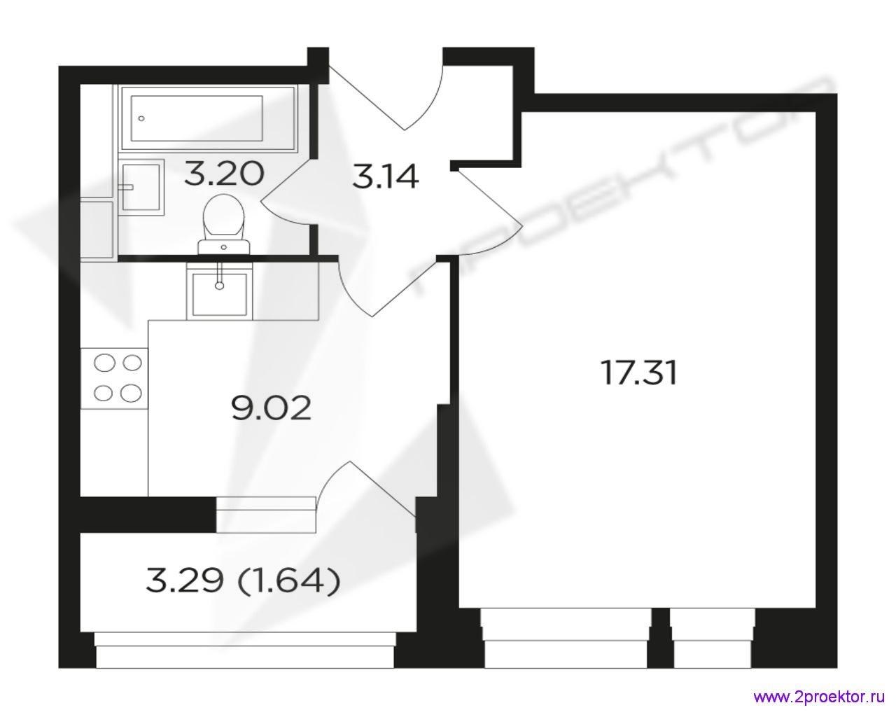 Типовой вариант планировки однокомнатной квартиры в Жилом комплексе Преображение.