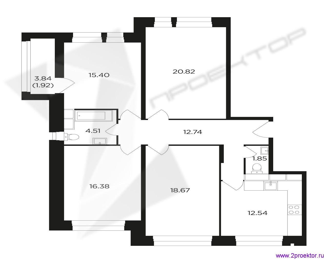 Типовой вариант планировки четырехкомнатной квартиры в Жилом комплексе Преображение.