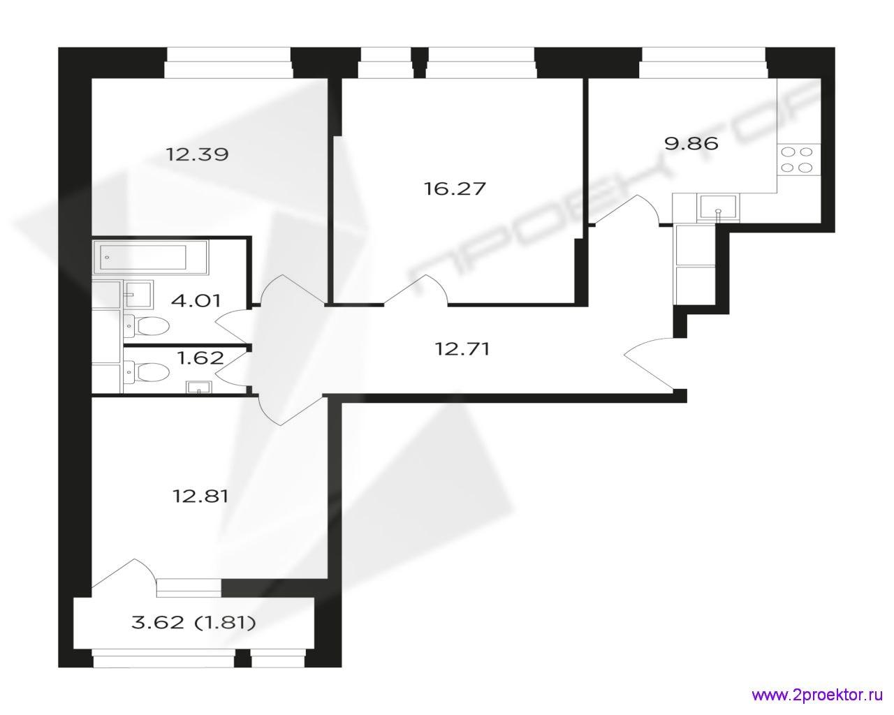 Типовой вариант планировки трехкомнатной квартиры в Жилом комплексе Преображение.