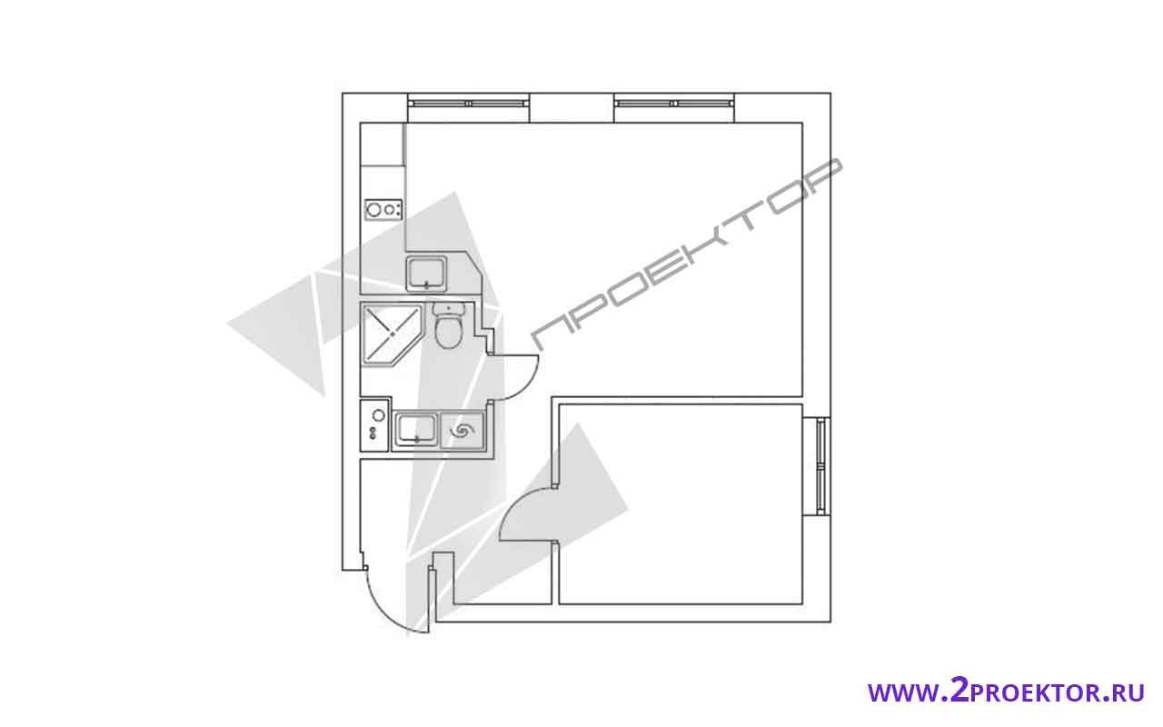 Проект перепланировки однокомнатной квартиры на 30 кв. м