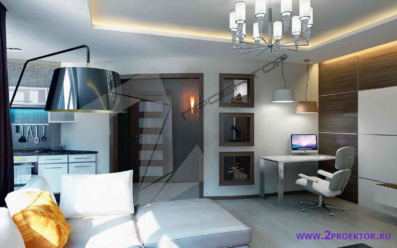 Интерьер перепланировки однокомнатной квартиры на 30 кв. м