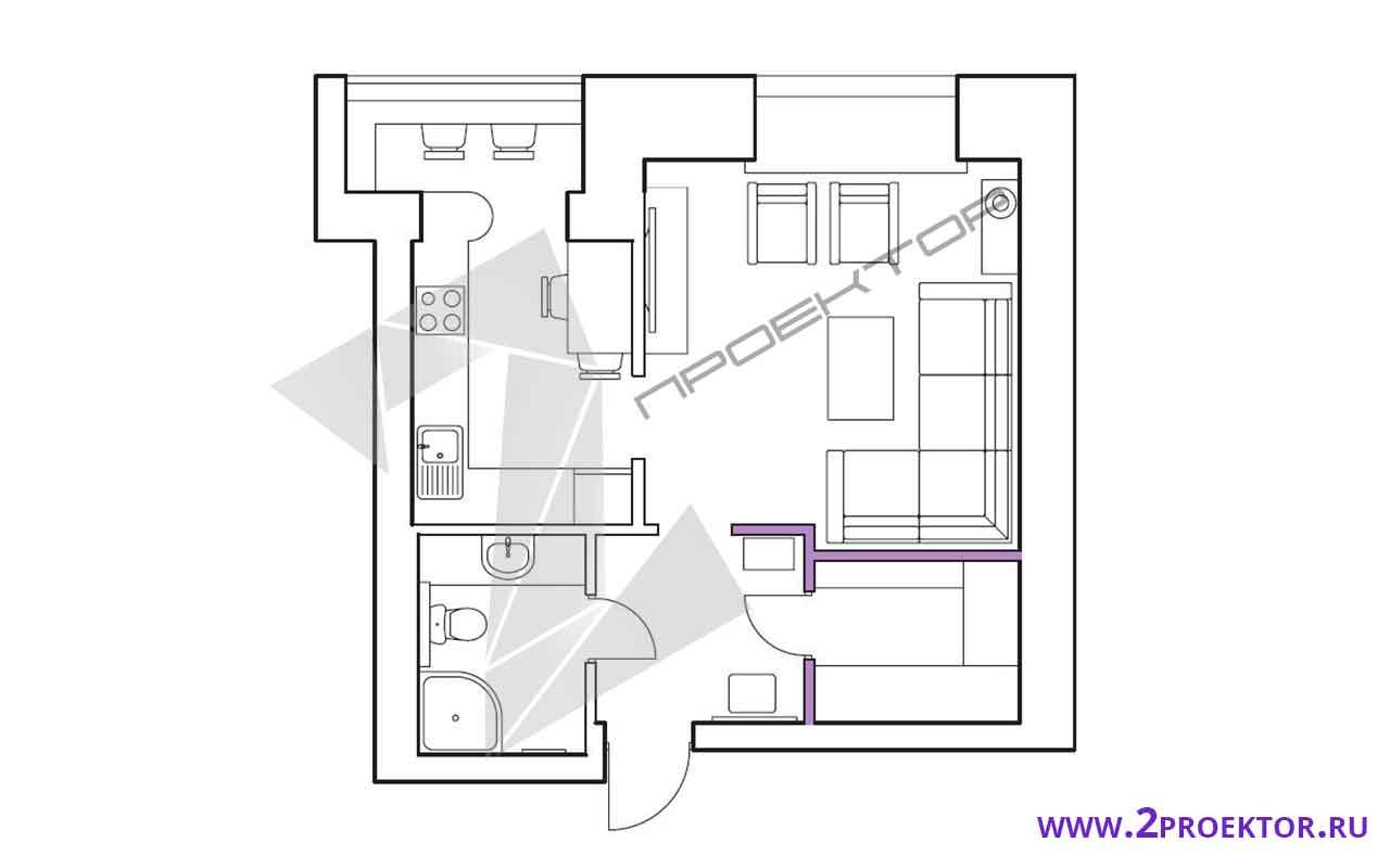 Проект перепланировки однокомнатной квартиры на 33 кв. м