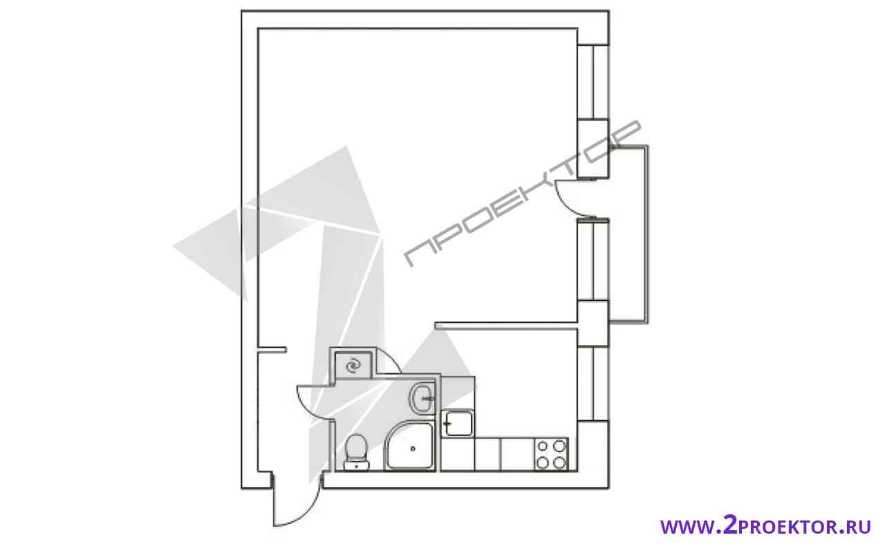 Проект перепланировки однокомнатной квартиры на 35 кв. м