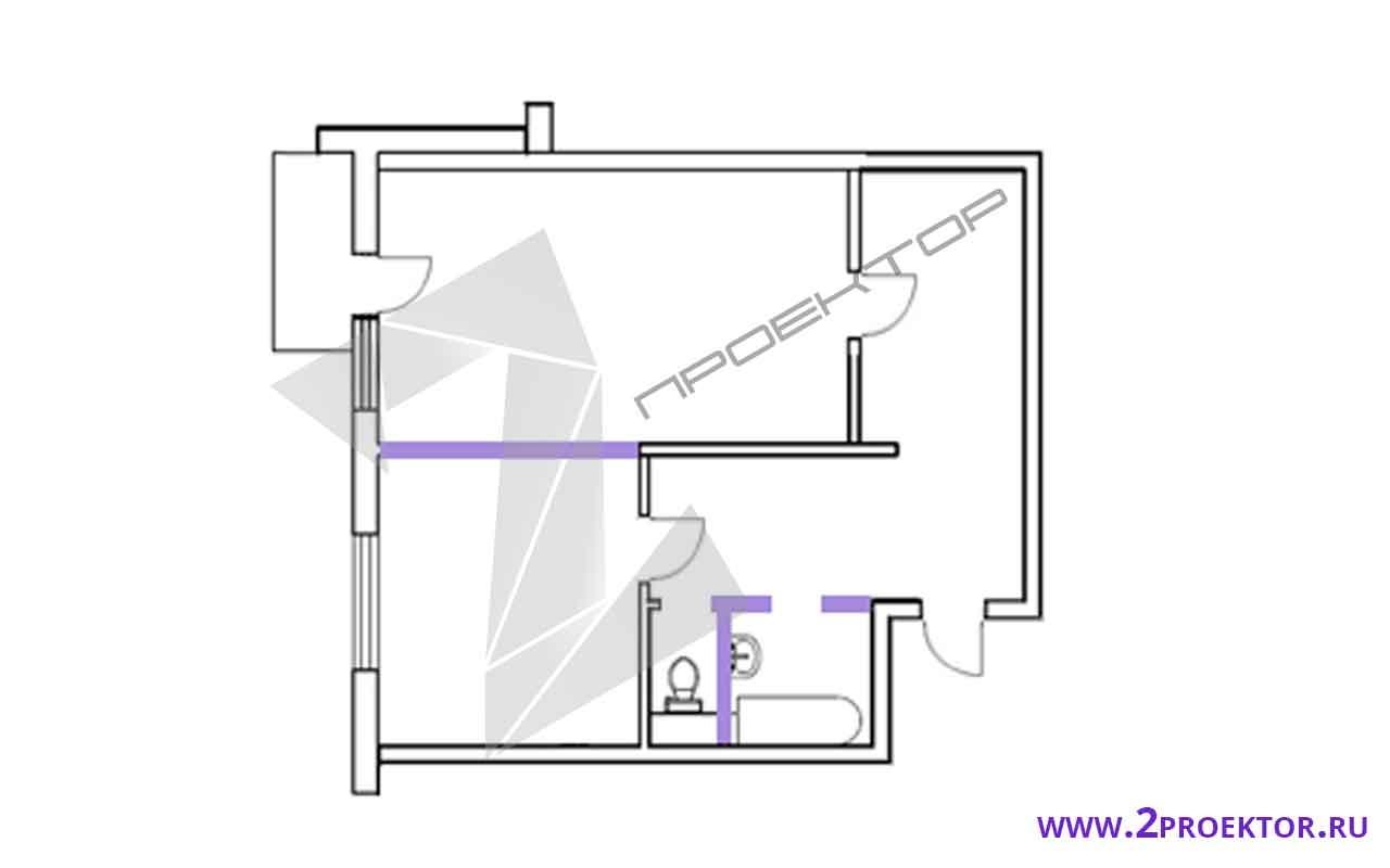 Проект перепланировки однокомнатной квартиры на 40 кв. м