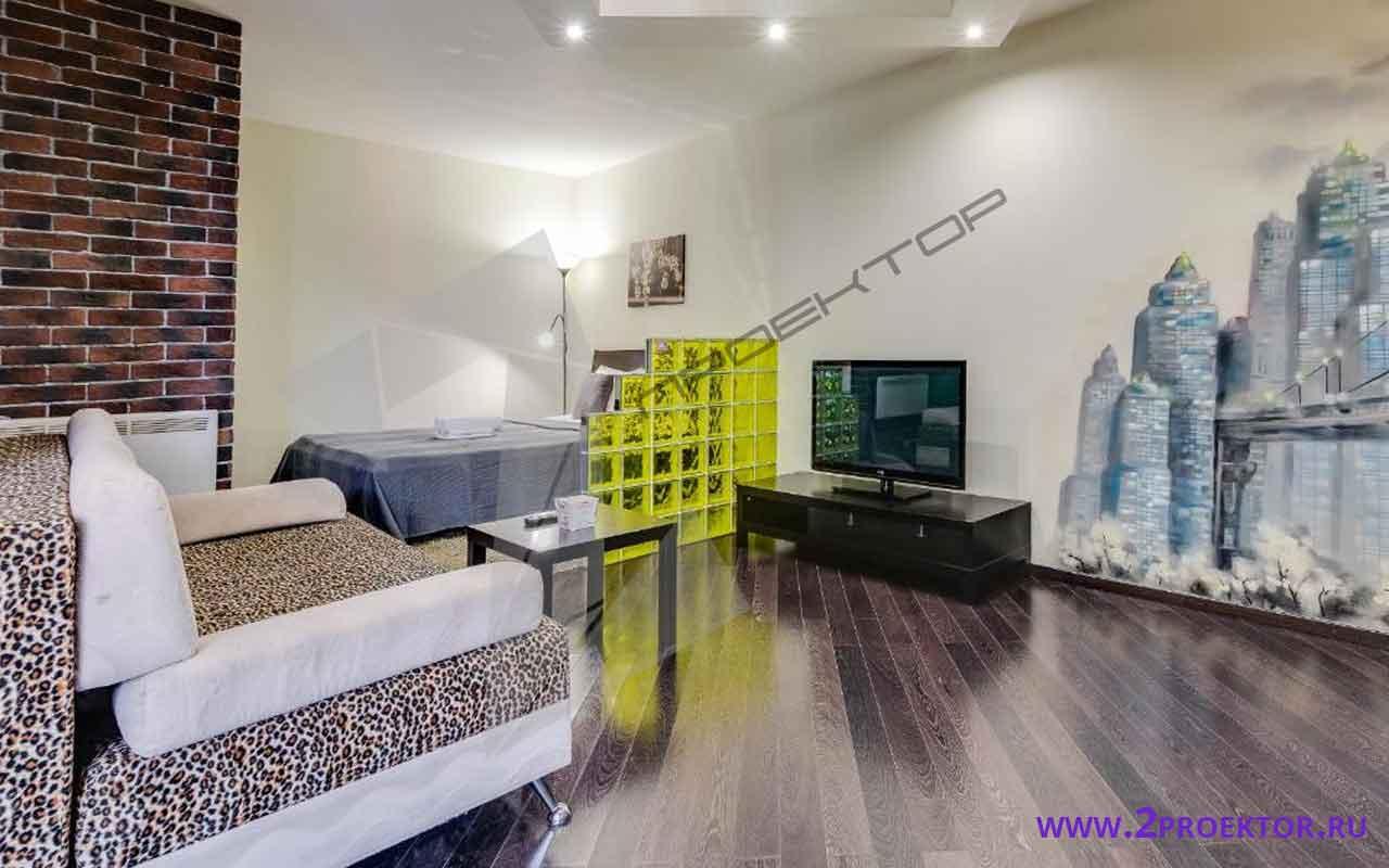Интерьер перепланировки однокомнатной квартиры на 40 кв. м