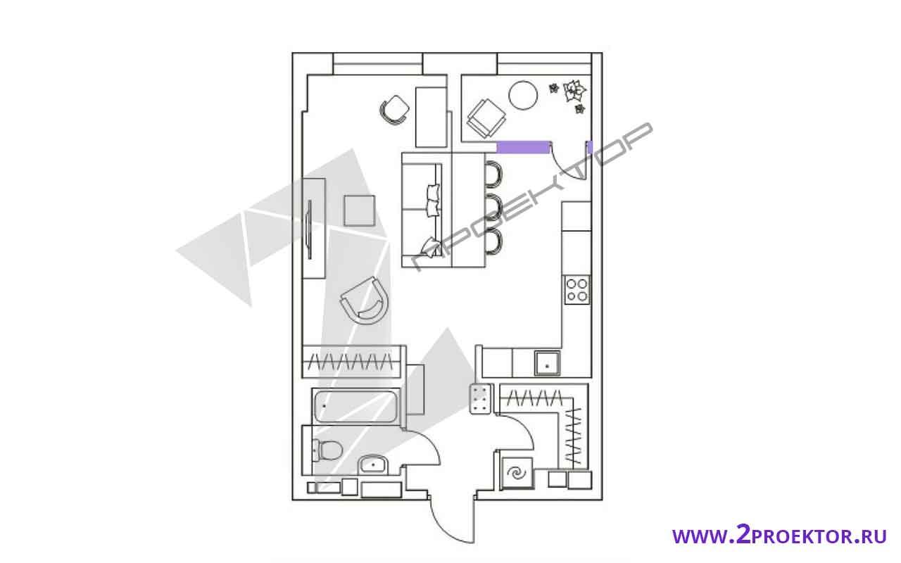 Проект перепланировки однокомнатной квартиры на 45 кв. м