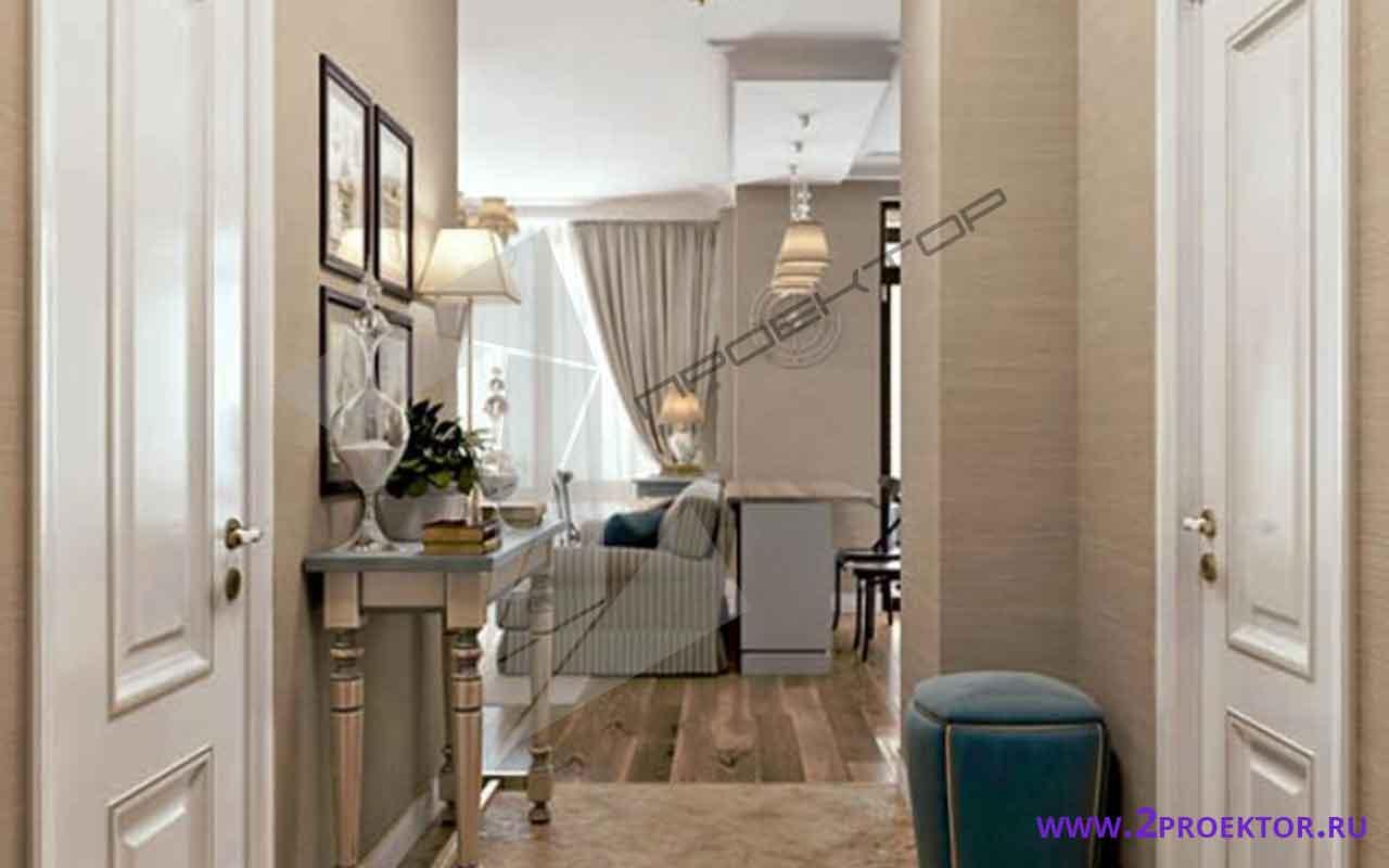 Интерьер перепланировки однокомнатной квартиры на 45 кв. м