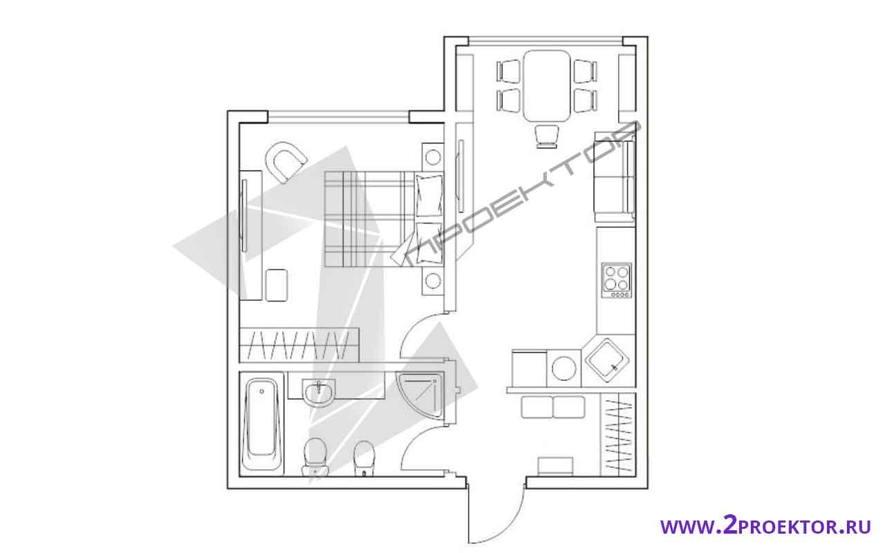 Проект перепланировки однокомнатной квартиры на 50 кв. м