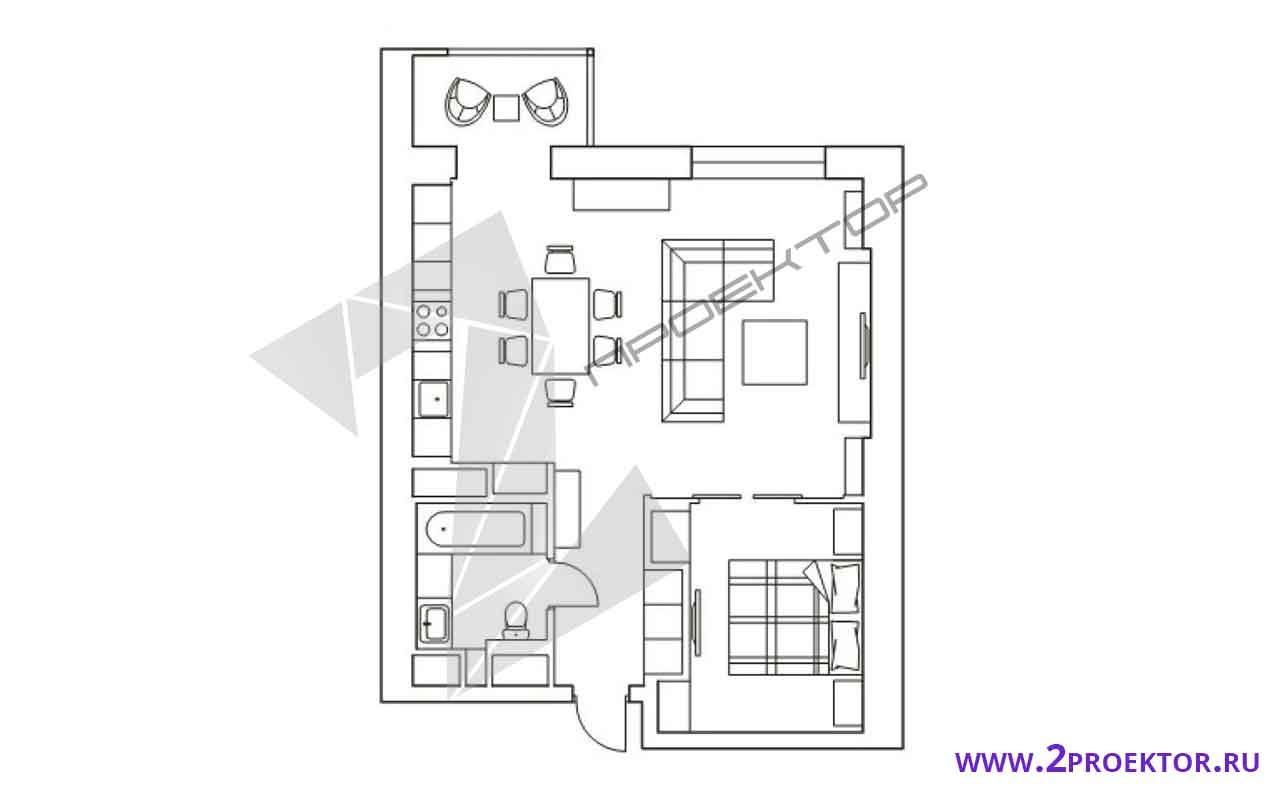 Проект перепланировки однокомнатной квартиры на 56 кв. м