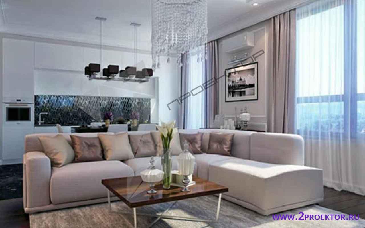 Интерьер перепланировки однокомнатной квартиры на 56 кв. м