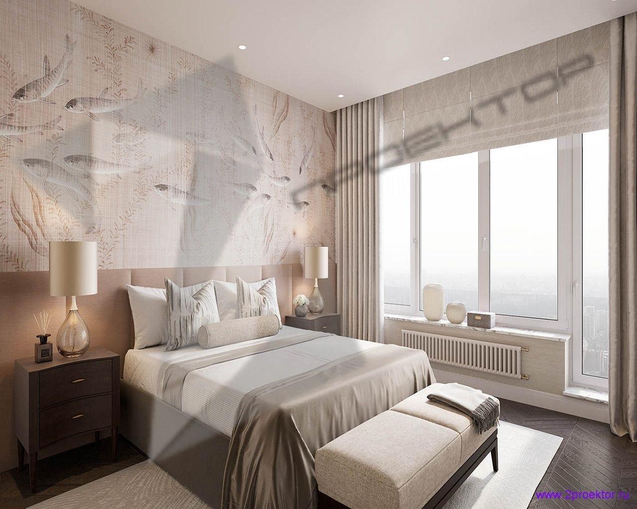 Дизайн спальни в светлых тонах в Жилом комплексе Долина Сетунь.