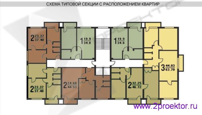 Схема типовой секции с расположением квартир жилого дома серии II-18