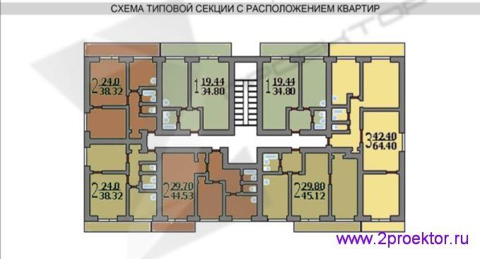 Схема типовой секции с расположением квартир жилого дома серии И-209A