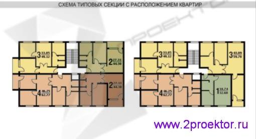Схема типовой секции с расположением квартир жилого дома серии II-49
