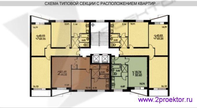 Схема типовой секции с расположением квартир жилого дома серии II-57