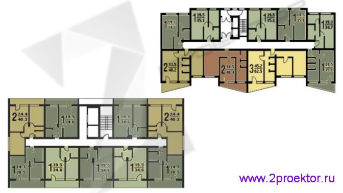 Схема типовой секции с расположением квартир жилого дома серии II-68