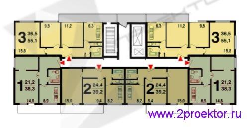 Схема типовой секции с расположением квартир жилого дома серии МГ-601