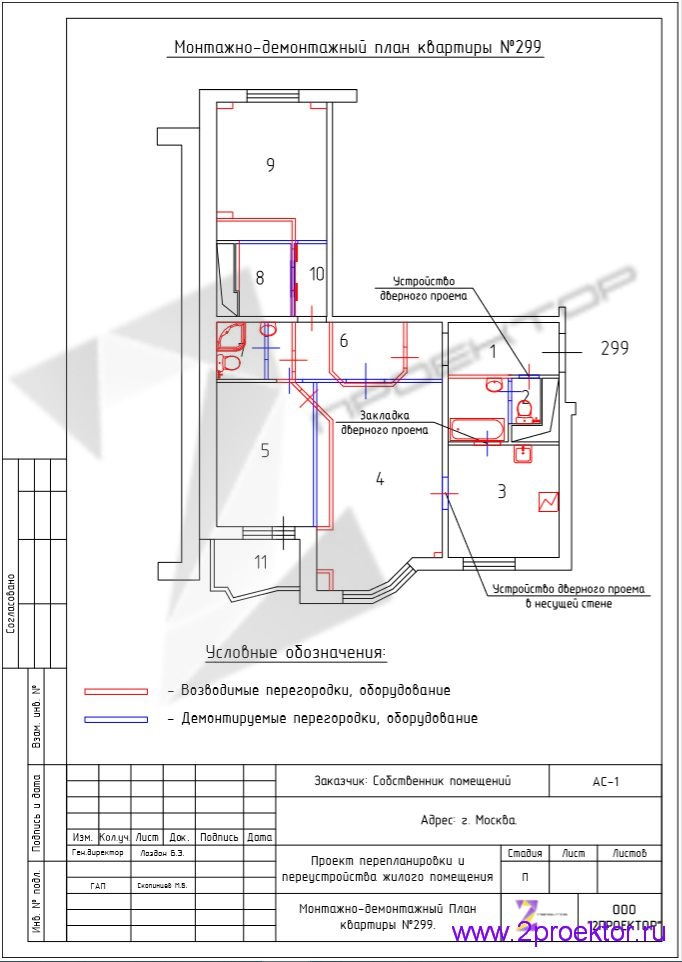 Монтажно-демонтажный план перепланировки квартиры