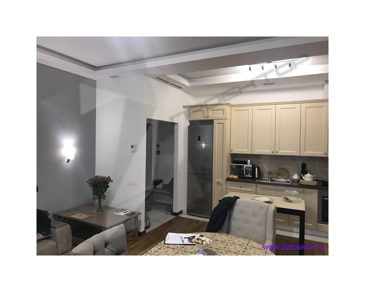 Объединение гостиной и кухни в квартире с электроплитой