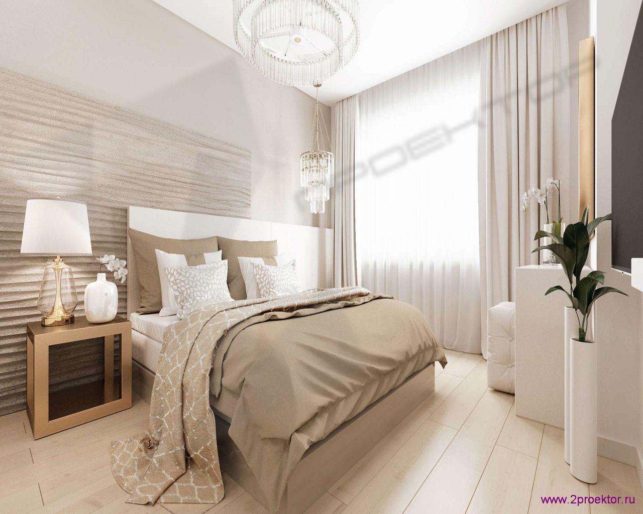 Дизайн спальни в светлых тонах в Жилом комплексе Невский
