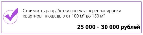 Стоимость разработки проекта перепланировки квартиры площадью от 100 до 150 кв. метров
