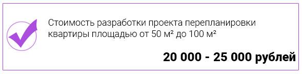 Стоимость разработки проекта перепланировки квартиры площадью от 50 до 100 кв. метров