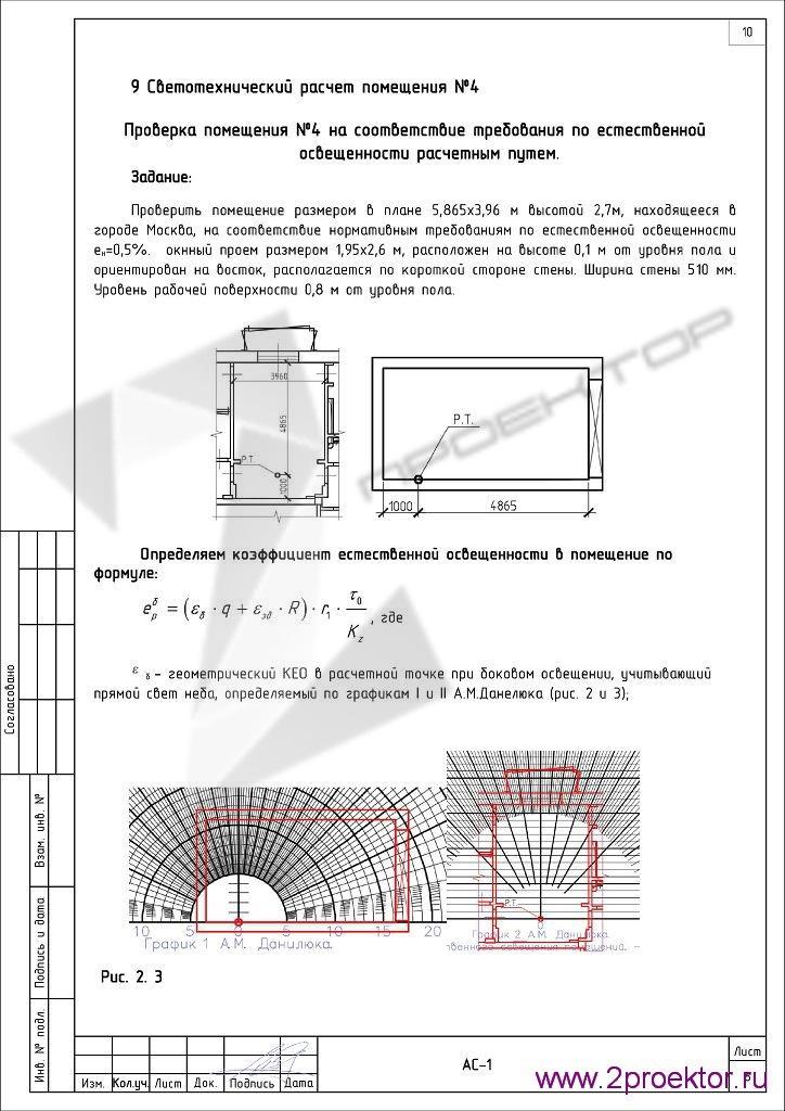 Светотехнический расчет помещения стр. 1