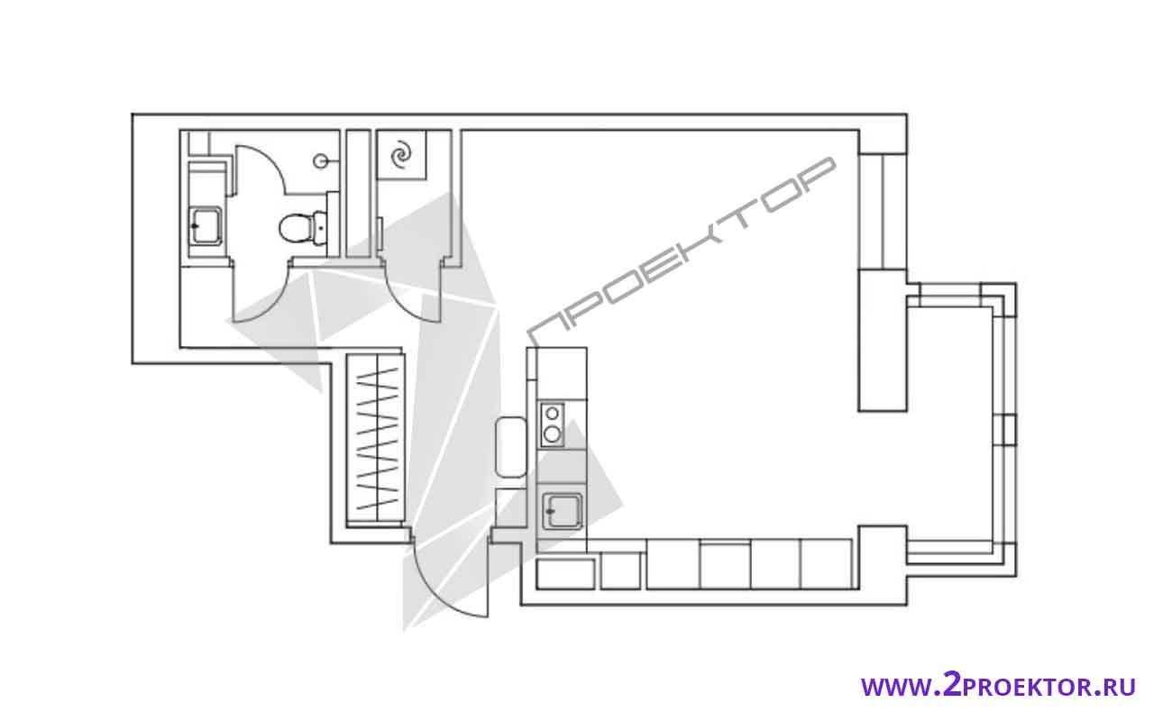 Проект перепланировки однокомнатной квартиры в доме серии п 44