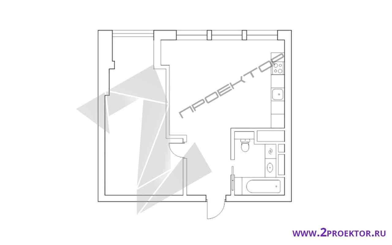 Проект перепланировки однокомнатной квартиры в Новостройке