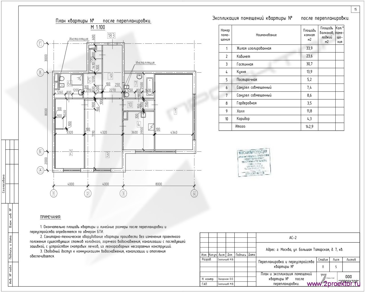 Вариант планировки квартиры в Жилом комплексе Четыре солнца, разработанный специалистами ООО «2Проектор» и согласованный Мосжилинспекцией.