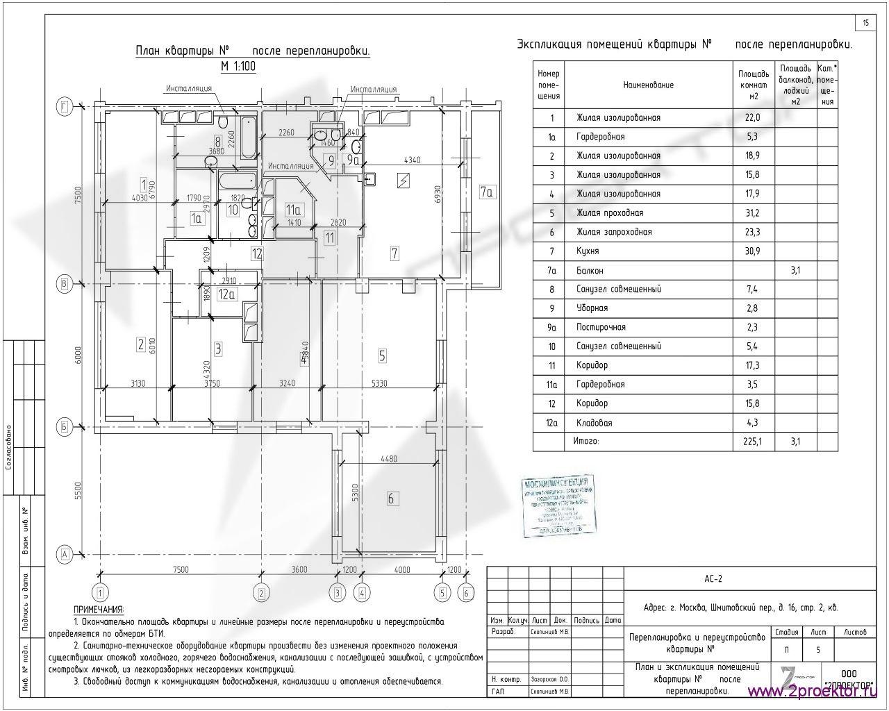 Вариант планировки квартиры в Жилом комплексе Шмитовский, разработанный специалистами ООО «2Проектор» и согласованный Мосжилинспекцией.