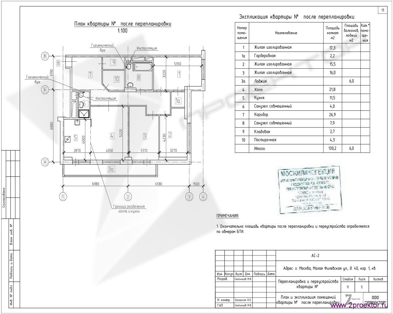 Вариант планировки квартиры в Жилом комплексе Суворов парк, разработанный специалистами ООО «2Проектор» и согласованный Мосжилинспекцией.