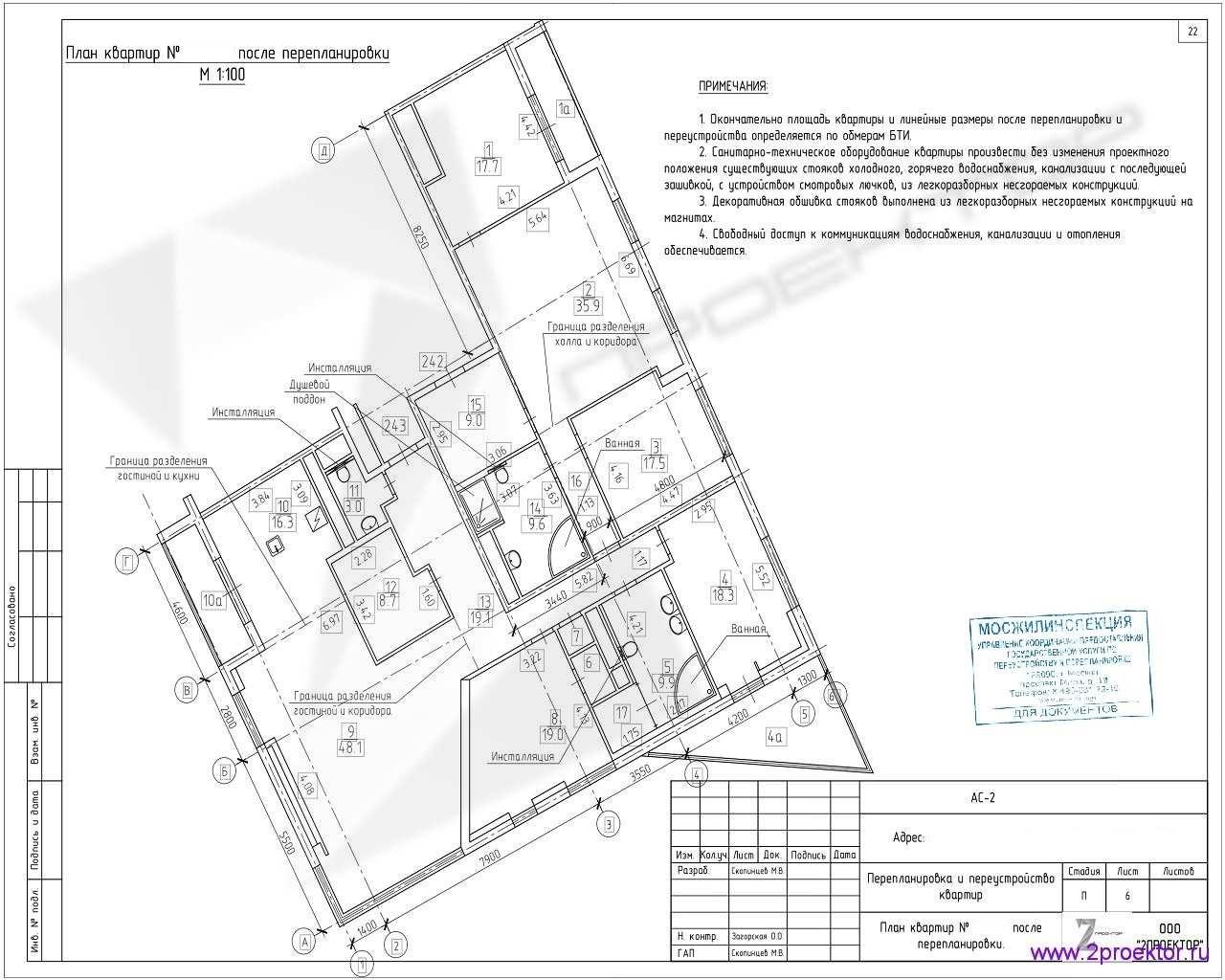 Вариант планировки квартиры в Жилом комплексе Дыхание, разработанный специалистами ООО «2Проектор» и согласованный Мосжилинспекцией.